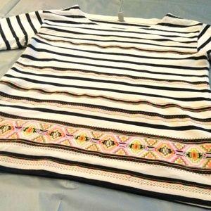 J CREW Womens White Navy Blue Striped Cotton Top